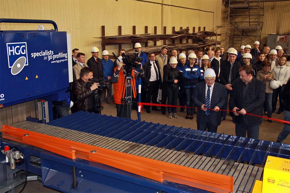 Открытие механизированной линии по резке профиля на Выборгском судостроительном завод