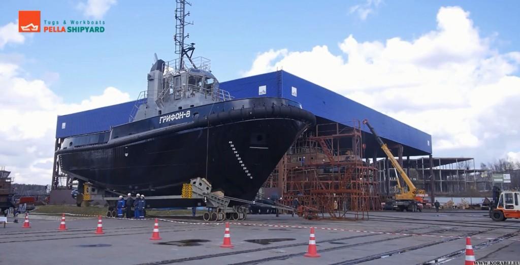 ЛСЗ «Пелла» спустил на воду буксир «Грифон–8» проекта 90600