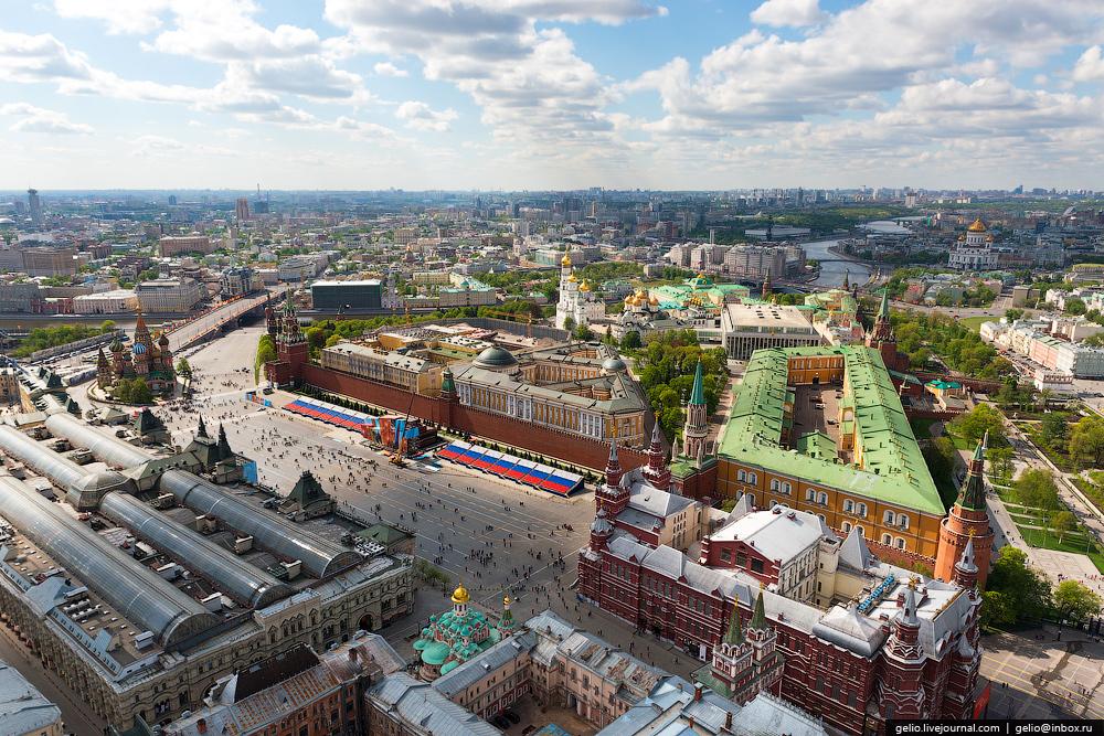 Полет над центром Москвы, репетиция парада Победы