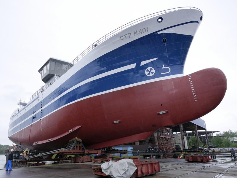 """Судозавод """"Пелла"""" спустил на воду рыбопромысловое судно нового поколения"""