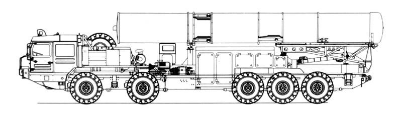 Пусковая установка 77П6 на шасси БАЗ-69096 из состава ЗРС С-500 (обработанный рисунок с плаката с показа бронетехники в Бронницах)