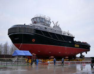 "На заводе ""Пелла"" состоялся спуск на воду буксира-спасателя «МБ-123» проекта 02980"