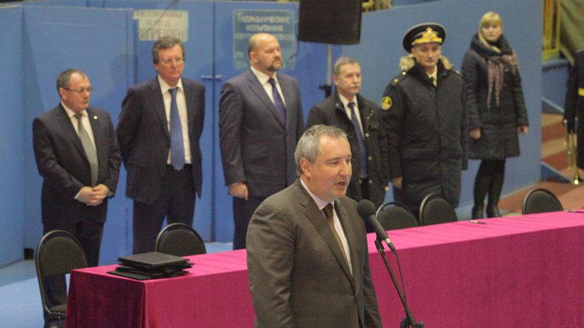 Дмитрий Рогозин на церемонии закладки подводного ракетоносеца четвёртого поколения «Генералиссимус Суворов»