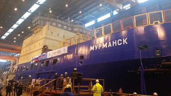 "Ледокол ""Мурманск"" спущен на воду в Финляндии"