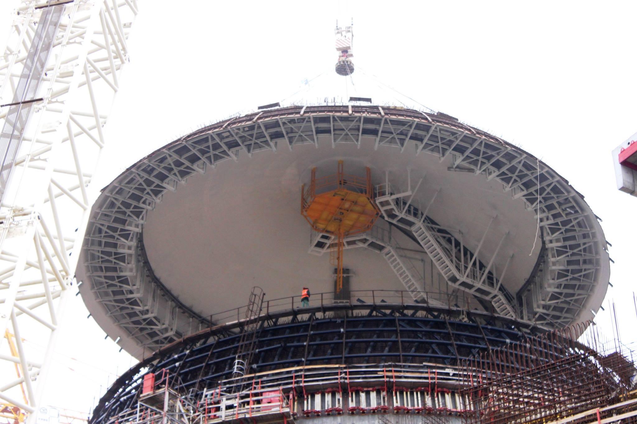 На энергоблоке №2 Нововоронежской АЭС установлен второй ярус наружной защитной оболочки АЭС