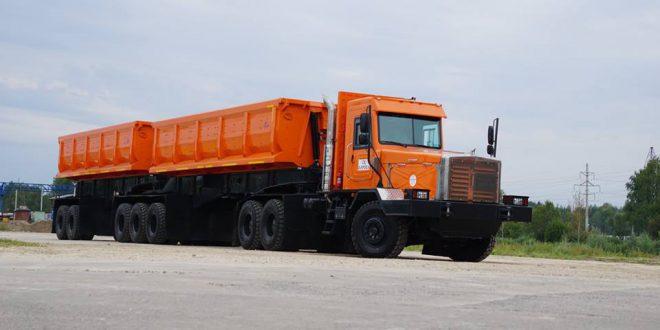Машиностроительный завод ТОНАР представил уникальный самосвальный автопоезд для Северной Якутии