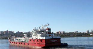 Самоходный танкер-бункеровщик спущен на воду на Красноярской судоверфи